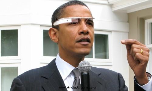 美国总统奥巴马佩戴Google Glass