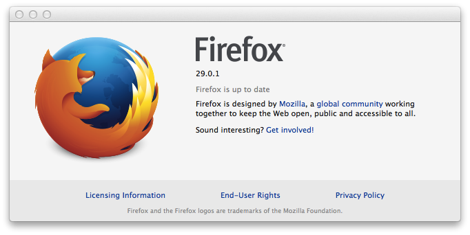 Firefox 29.0.1 about